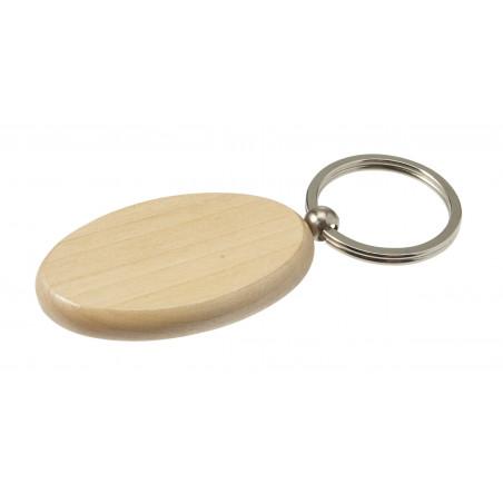 Kulcstartó fa ovális alakú 4cm