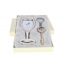 18.szülinapi pezsgőspohár képkeret+kulcs alakú kulcstartó