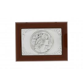 Ékszertartó doboz tükörrel ezüst fedelű