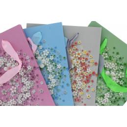 Fundrag papír dísztasak csillogó virágmintás
