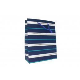 Ajándéktasak csíkos 18x23cm (kék,fehér,ezüst)