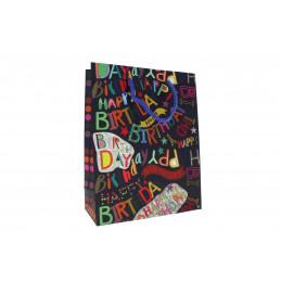 """Ajándéktasak 18x23cm """"happy birthday"""" feliratos, fekete"""