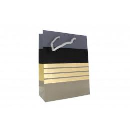 Ajándéktasak csíkos 18x23cm (szürke,fekete,arany)