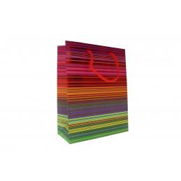 Ajándéktasak csíkos mintás 18x23cm színes