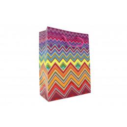 Ajándéktasak cikk-cakk mintás 18x23cm színes