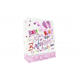 """Ajándéktasak """"baby"""" felirat, rózsaszín"""