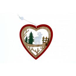 Karácsonyi fa dekoráció, piros szívben szarvas