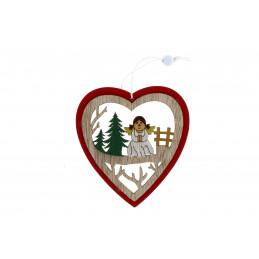 Karácsonyi fa dekoráció, piros szívben angyalka