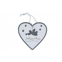 Karácsonyi fa dekoráció, ezüst szívben trombitázó angyalka