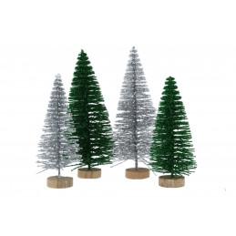 Dekoráció fenyőfa zöld glitteres fa talpon 8 cm