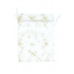 Zsák textil összehúzható csillag mintás, arany