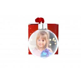 Karácsonyfadísz 2 képes gömb