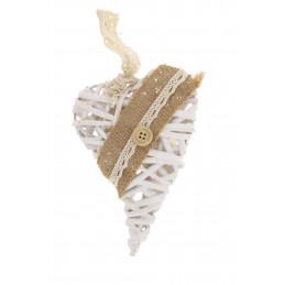 Fa dekoráció szív 15cm fehér