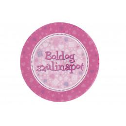 """Papír tányér \""""Boldog szülinapot\"""" rózsaszín"""