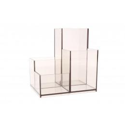 Írószertartó asztali műanyag szögletes, szürke/zöld