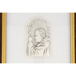 Leader Argenti II. János Pál pápa domborkép, barna keretes